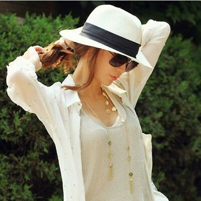 Hot Women s Men Panama Style Summer Fedora Straw Wide Brim Beach Cap Sun Hat daa10106d122