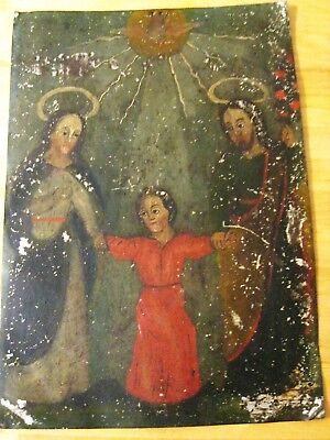 Original Antique Retablo On Tin  Image Of The Holy Famly In Good Condition