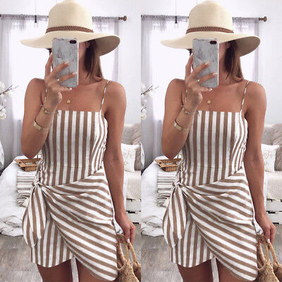Women Holiday Sleeveless Strappy Mini Dress Backless Beach Stripe Wrap Sundress