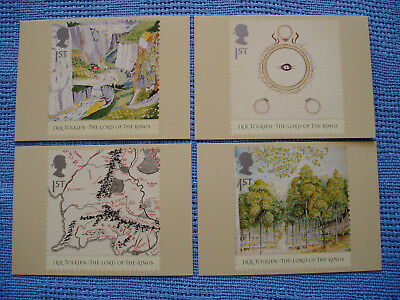 J R R Tolkien Lord Of The Rings * 4 Mint Royal Mail Stamp Design Postcards