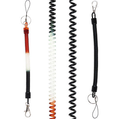 Phone Plastic Elastic Spiral Spring Coil Strap Rope Lanyard Key Chain Clip