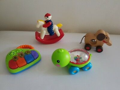 Baby toddler Bulk lot toys Fisher price first piano wooden rattle elephant etc