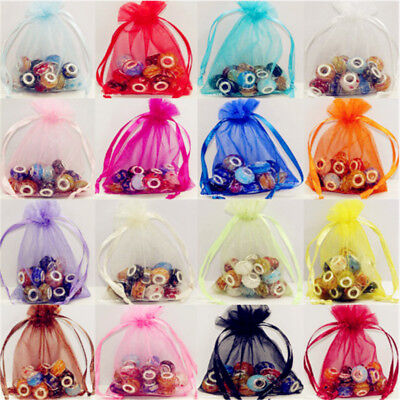 25/100pcs Drawable Organza Bag Favor Wedding Gift Bag Jewelry Packaging 5 Size