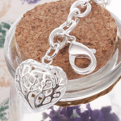 Fashion Chic Charm Silver Plated Hollow Heart Bracelet Pendant Chain Bangle PAN