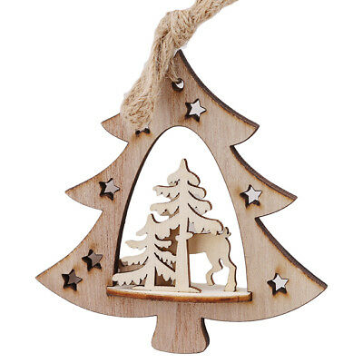 Christmas Wooden Tree Pendant Hanging Elk Xmas Decor Ornaments Party Supplies N7