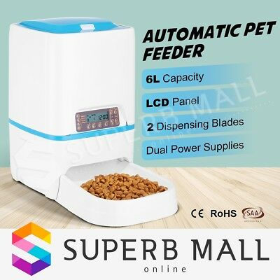 Automatic Dog Feeder Timed Auto Pet Cat Food Dispenser w/ Voice Recorder LCD 6L