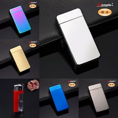 USB Electric Dual Arc Metal Flameless Torch Rechargeable Windproof Lighter O1b6