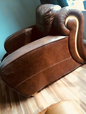 leather art deco club chair