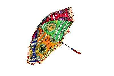 Lovely Sun Light Umbrella For Women's Rajasthani Decorative Embroidered Parasol
