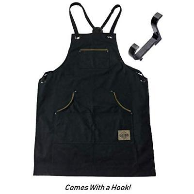 Mens Shop Work Aprons with Pockets Heavy Duty Waxed Canvas Blacksmith or Tool