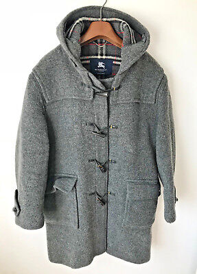 Burberry London Duffle Coat! Mens L/xl! Grey! Check Lined! 48-50 Chest! Trench!