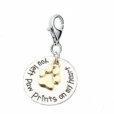 """Loss of Pet Memorial Charm Dog Cat """"You left paw prints on my heart """" Clip clasp"""