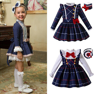 Girls Tartan Dress Check Skirt Sets Party Pageant Formal Outfits Long Sleeve