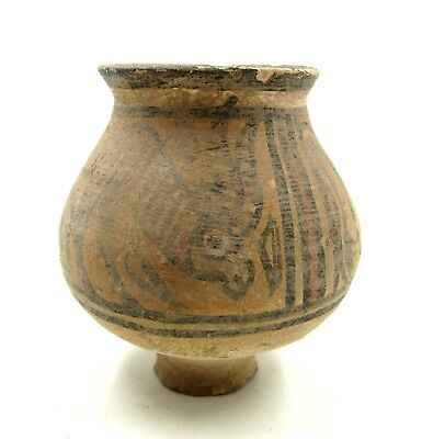 Authentic Ancient Indus Valley Terracotta Jar W/ Lion & Stag - L989