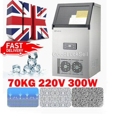 70kg Auto Commercial Ice Maker Cube Machine Stainless Steel Bar 154Lbs 300W 220V