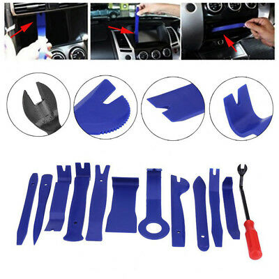 12Pc Car Door Panel Trim Clip Removal Plier Upholstery Radio Pry Bar Tool Kit AU