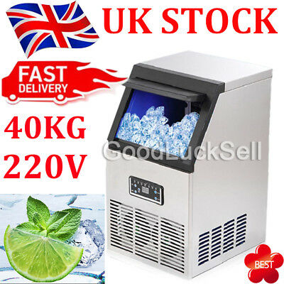 40KG 88Lbs Commercial Bar Ice Maker Cube Machines Stainless Steel 230V in UK