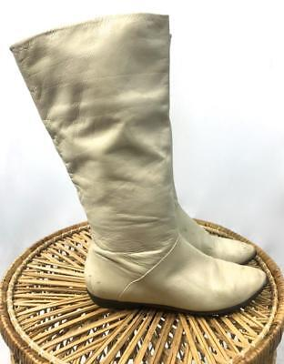 VINTAGE 80s CREAM soft genuine LEATHER tall flat soled BOOTS 8 1/2 8.5  39