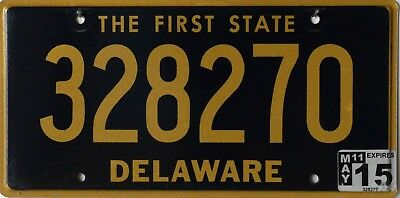 USA Number Licence Plate DELAWARE THE FIRST STATE
