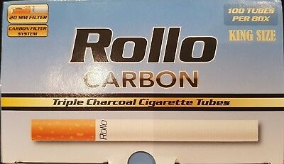 1000 NEW CARBON TRIPLE FILTER EMPTY ROLLO TUBES Cigarrette Tobbacco Rolling roll