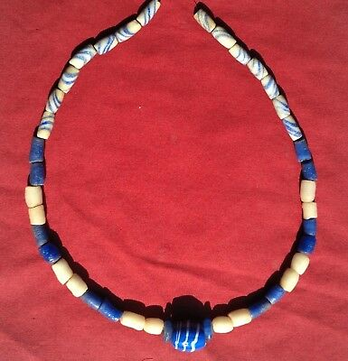 "Authentic Indian Artifact 41 Glass Trade Beads Arrowhead 23"" Trade Bead Necklace"
