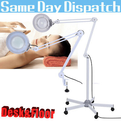 Desk Floor Magnifier Magnifying Lamp Light Skincare Nail Manicure Tattoo Salon