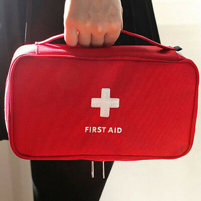 Red Empty First Aid Bag Emergency Medical Survival Treatment Rescue Box CAL