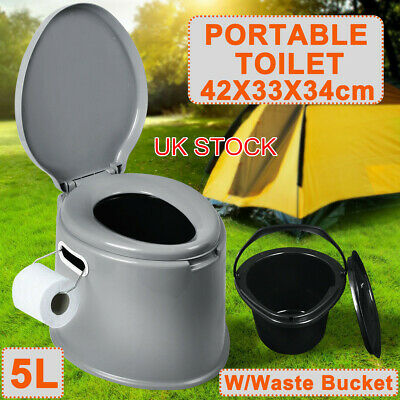 New 5L Portable Toilet Travel Camping Caravan Compact Potty Loo Seated Toilet