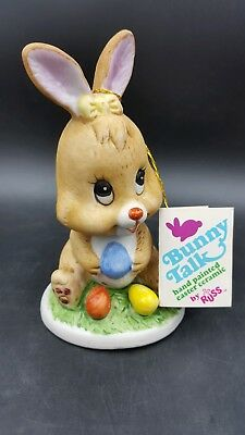 """Vintage Russ Berry Co """"Bunny Talk"""" Hand Painted Ceramic Easter Bunny w/Eggs"""