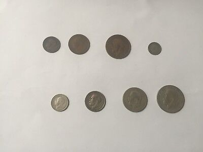 8 Old English Coins Farthing – Half-Crown all King George V one of each type