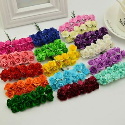 144pcs 1cm Artificial Paper flowers for Wedding car fake Roses Used For decorati