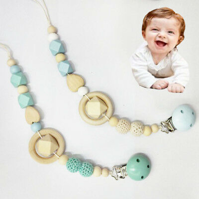 Baby Kids Wooden Beaded Pacifier Holder Clip Nipple Teether Dummy Strap Chain A