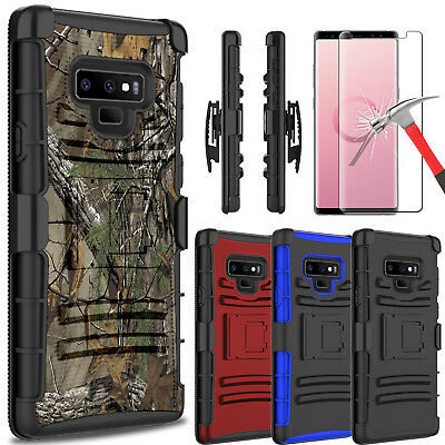 For Samsung Galaxy Note 9 Armor Case With Kickstand Belt Clip + Screen Protector
