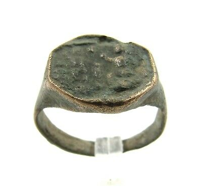 Authentic Ancient Roman Bronze Ring Seal Cameo W/ Figures - Wearable - E937