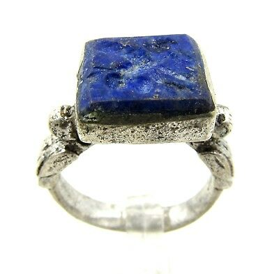 Authentic Post Medieval Silver Ring Lapis Intaglio W/ Pegasus  - Wearable - E939