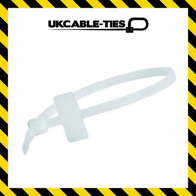 100x Marker Ties Cable Tie Marker I.D Tie Tag Write On Label 190mm x 4.8mm