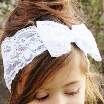Baby Girls Headband Soft Lace Bow Elastic Band Hairband Hair Accessories