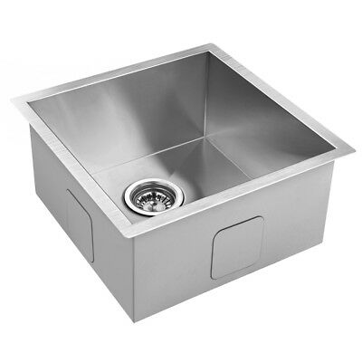 440 x 440mm Single Bowl Stainless Steel Kitchen Sink Laundry Square Edges Trough