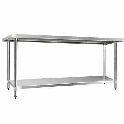 610 x 1829mm Commercial Stainless Steel Kitchen Bench Corrosion Resistant Sturdy