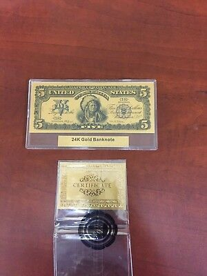24K Gold Banknote United States Five Gold Certificate
