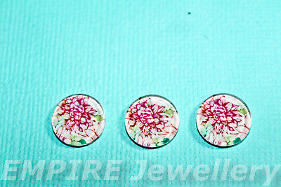 2 x Pink Chrysanthemum 12x12mm Glass Cabochons Cameo Dome Flower Rose
