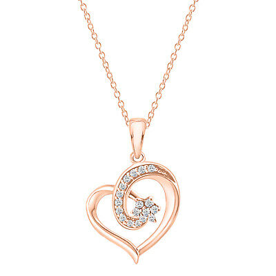 Round Diamond Heart Pendant Necklace 14K Rose Gold Over 925 Sterling Silver