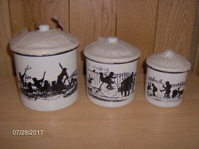 3 Enamel Black And White Canisters With Covers. Old Fashion Boys Frolicking