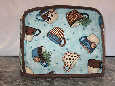 Lots of Cups aqua cotton fabric Handmade 2 slice toaster cover (ONLY)