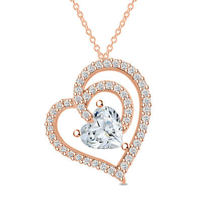 14k Rose Gold Over 925 Sterling Silver Double Heart Diamond Pendant Necklace 18""