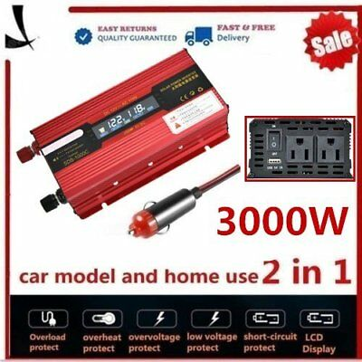 2000W/3000 Watt Peak Power Inverter DC 12V to AC 110V for Car Truck RV Pickup Q@