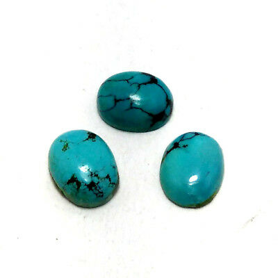 Fine Quality Natural TURQUOISE Oval 7x9mm 4.5ct 3Pc Cabochon Loose Gemstone