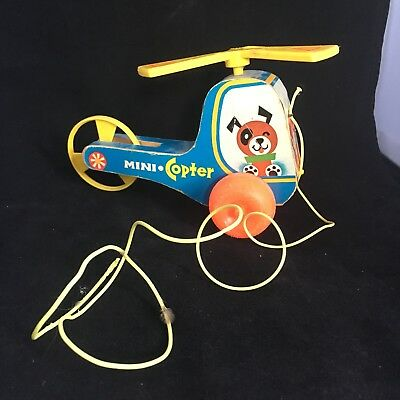 Mini Copter 70's - 80's Fisher Price Helicopter  w/ Dog and Girl Pull Toy #448