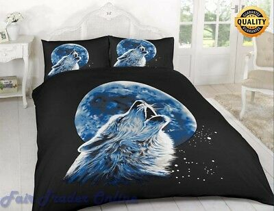 3D Wolf Moonlight Luxury Printed Duvet Cover Bedding Set Pillow Case All Sizes