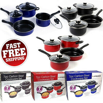 New 7PC Carbon Steel Cookware Pots And Induction Frying Pan Set With Glass Lid
